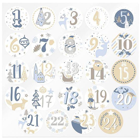 Pegatinas calendario de adviento azules y doradas
