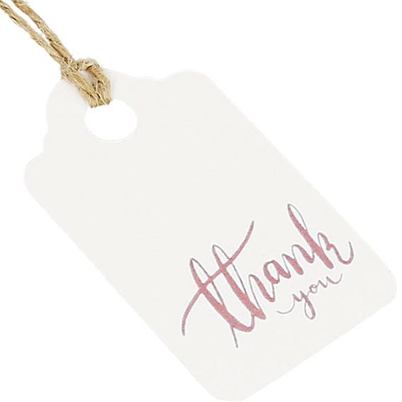 Etiquetas de carton thank you rosa