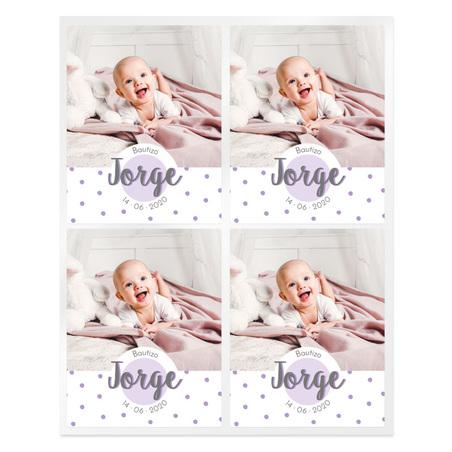Pegatinas topos lilas personalizadas con foto