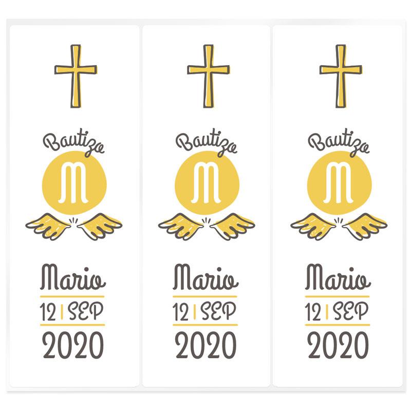 Pegatinas personalizadas cirio bautizo