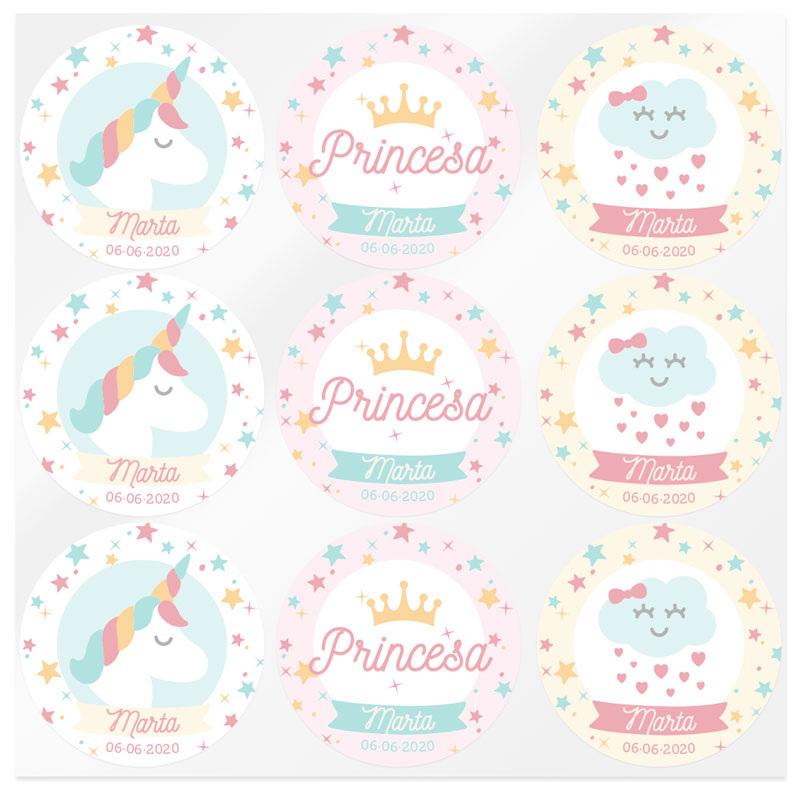 Pegatinas personalizadas unicornio y princesa