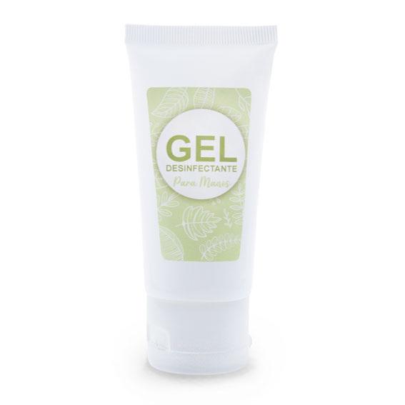 Tubo blanco 50 ml + pegatina gel desinfectante verde