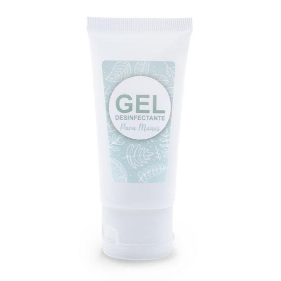 Tubo blanco 50 ml + pegatina gel desinfectante azul