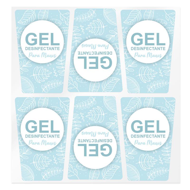 Pegatinas azules para gel desinfectante