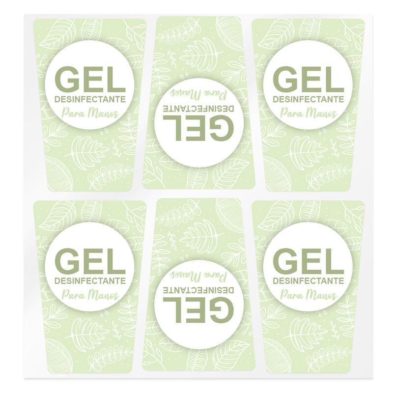 Pegatinas verdes para gel desinfectante