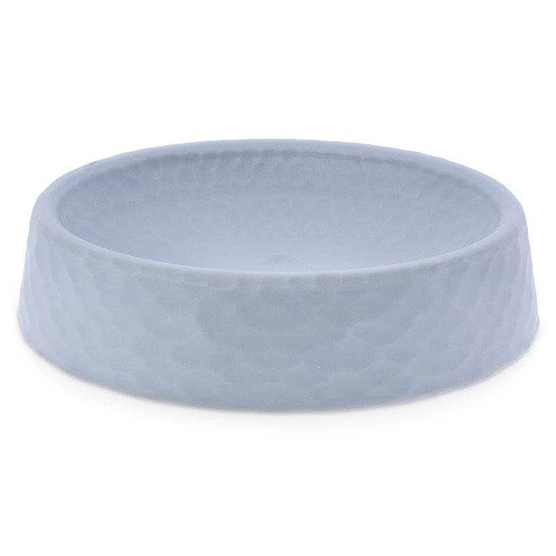 Saboneteira oval de plastico cinza