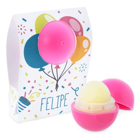 Caja personalizada globos para labiales