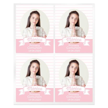 Adesivos comunhao listrado rosas personalizado com foto