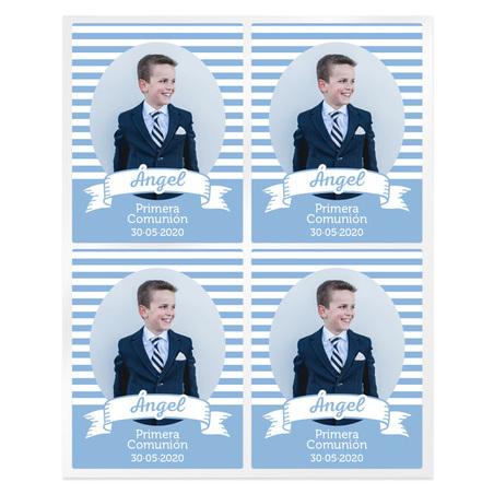 Adesivos comunhao listrado azul personalizado com foto