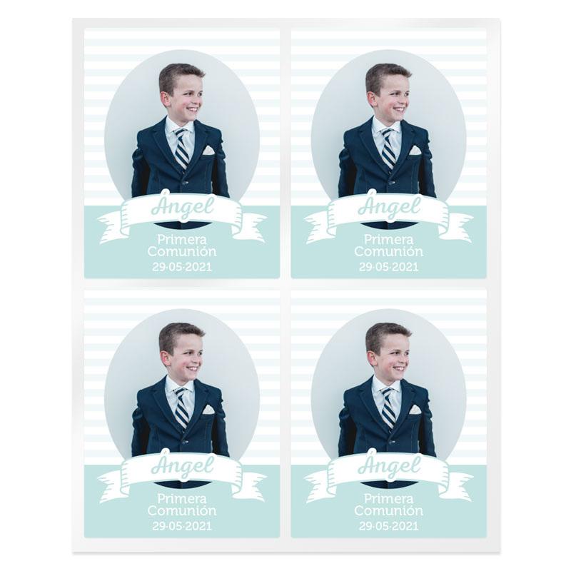 Adesivos listras comunhão personalizadas com foto