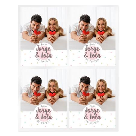 Pegatinas topos multicolor bodas personalizadas con foto