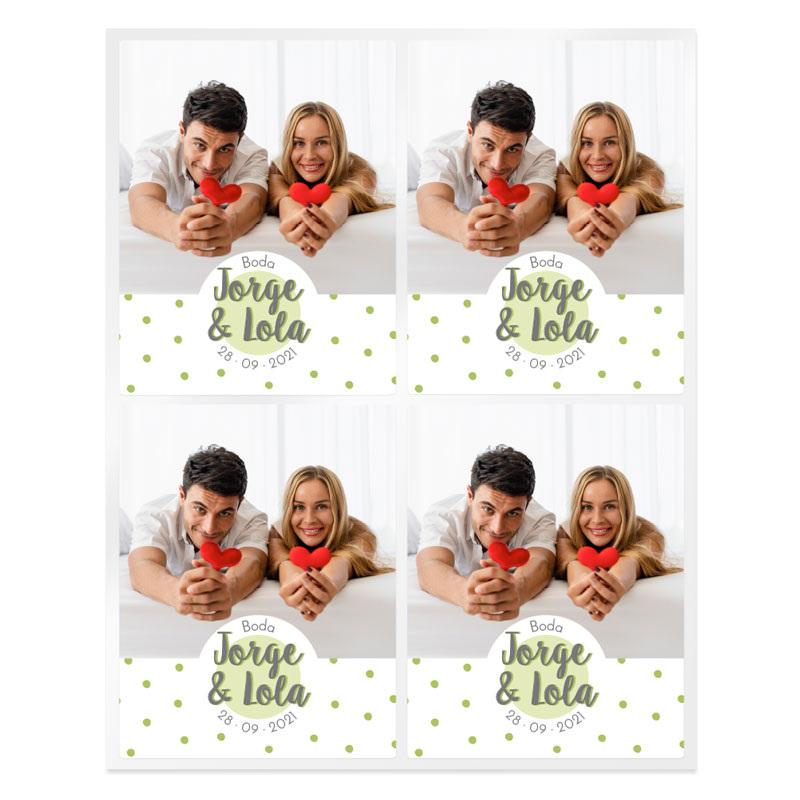 Pegatinas topos bodas personalizadas con foto
