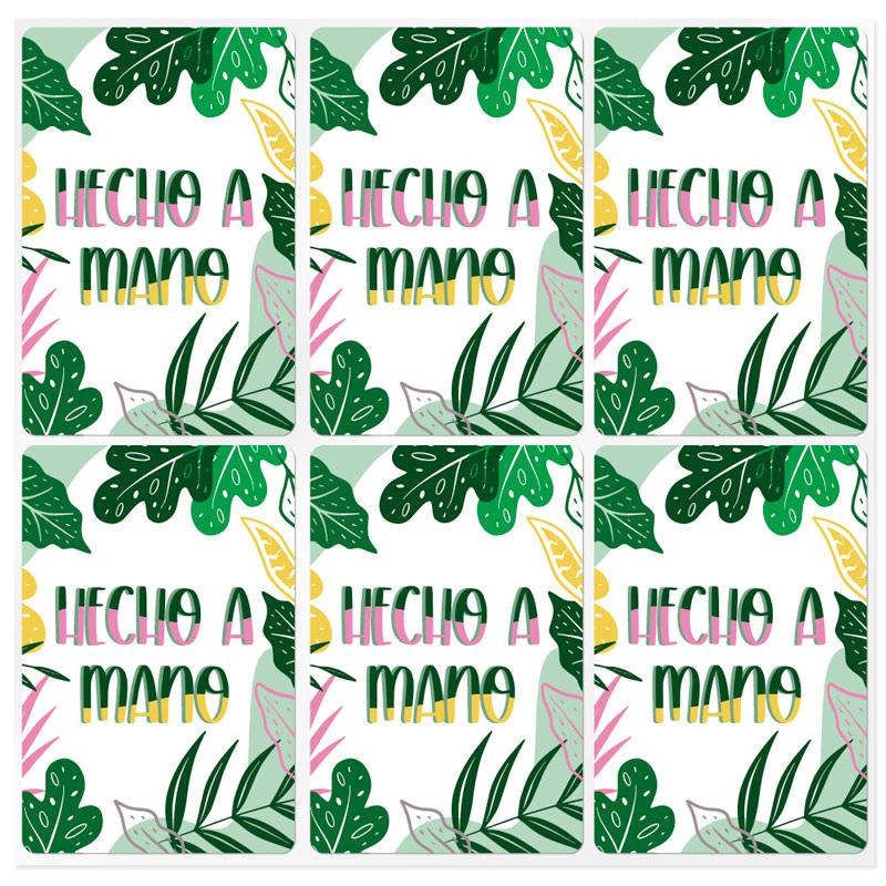 Pegatinas rectangulares hecho a mano tropical