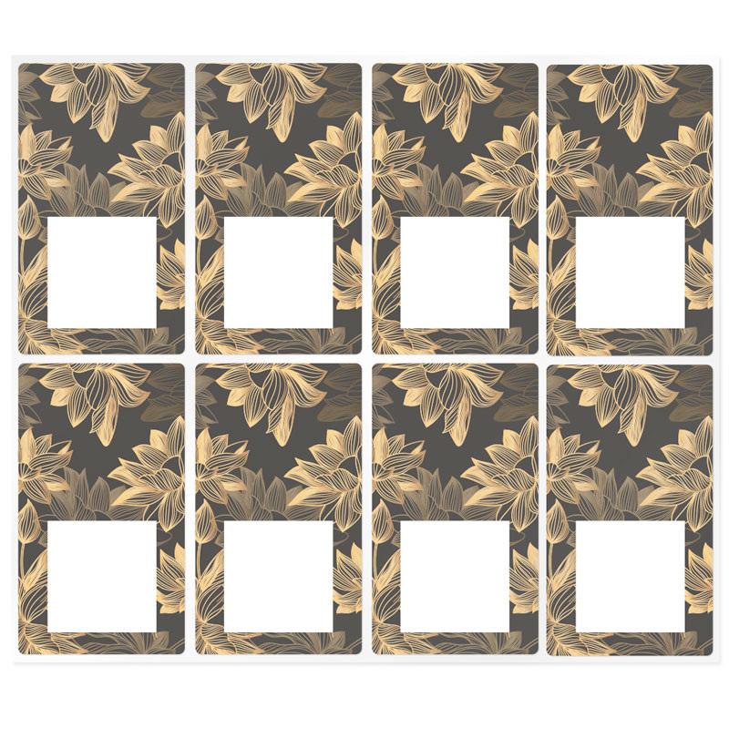 Pegatinas rectangulares flores deluxe