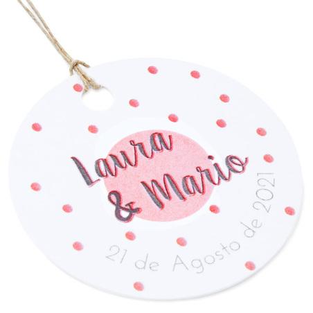 Etiquetas de carton personalizadas topos rojos