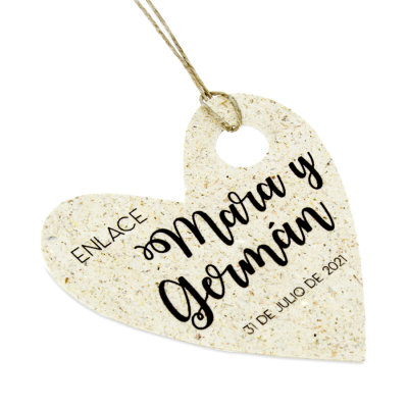 Etiquetas personalizadas para bodas corazon