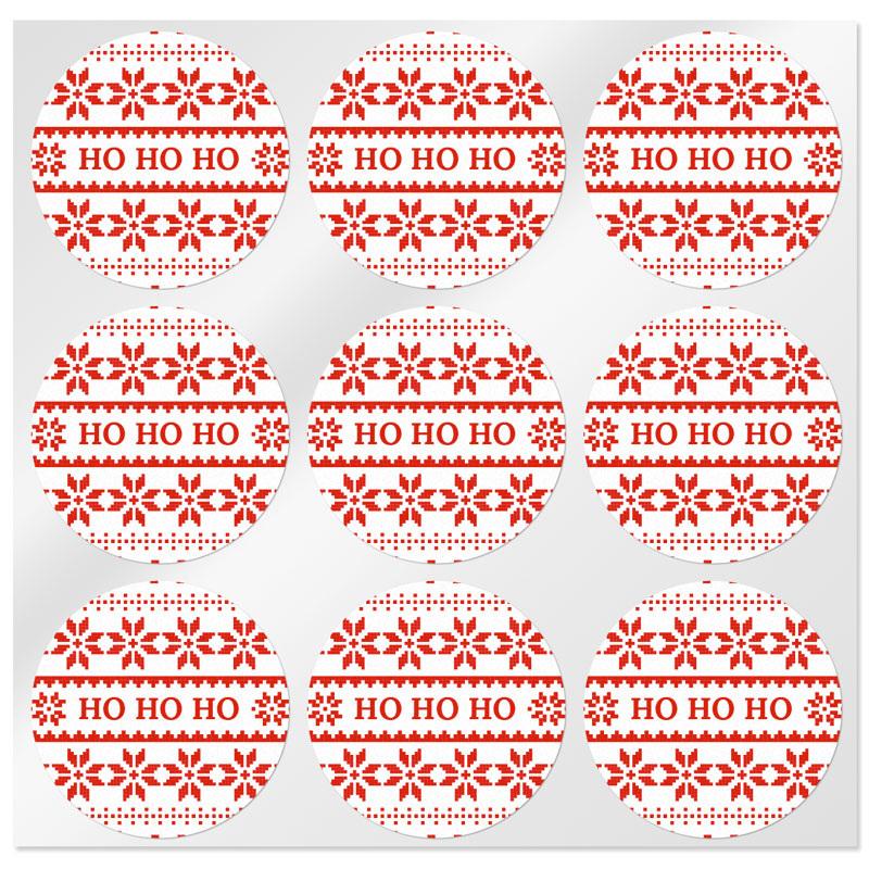 Pegatinas redondas de navidad ho ho ho