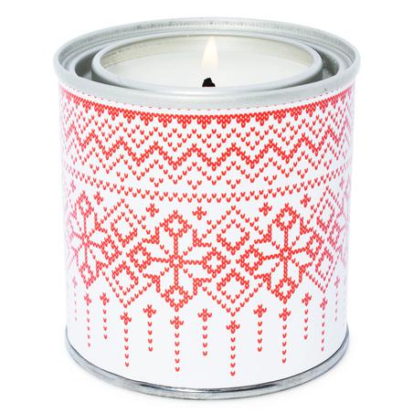 Stickers rojos estampado de navidad velas en lata