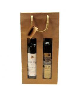 Bolsa para dos botellas de vino kraft