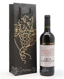 Bolsa 3/8 para Garrafa de Vinho Preta com Uvas Douradas.