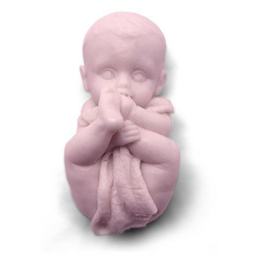 Molde para fazer sabonete Bebê se mordendo.