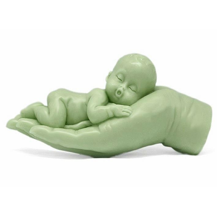 Molde sabonete baptismo, bebê em uma mão