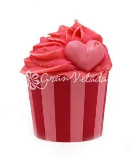 Capsulas cupcake listras verticais vermelho e grena