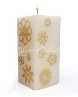 Transfer para velas, Flores Douradas.