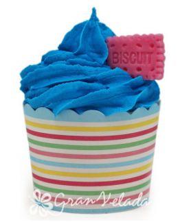 Capsula de cupcake a rayitas de colores