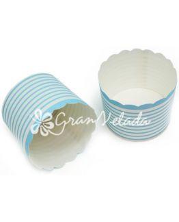 Capsulas para cupcake con rayitas azules horizontales