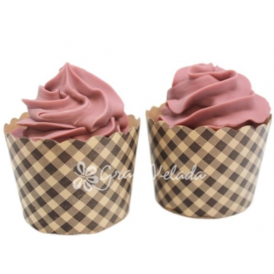 Cápsulas de Cupcake, a cuadritos marrones