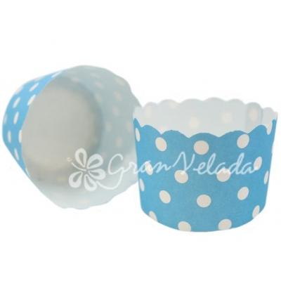 Cápsulas de Cupcake, Azuis com Bolinhas Bnancas