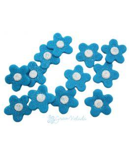 Flores turquesa para decorar bombas de baño