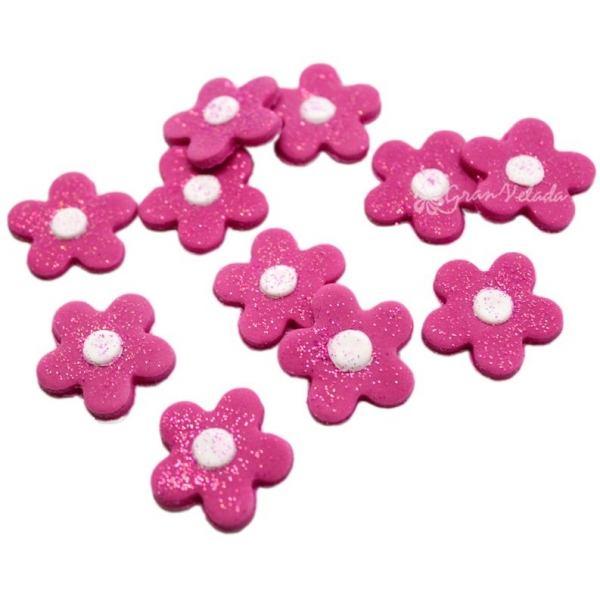 Flores fucsia para decorar bombas de ba o decorar cupcakes - Bombas para decorar ...