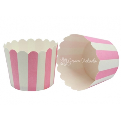 Cápsulas para cupcakes rayas rosas verticales