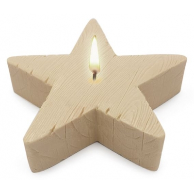 Molde para velas centro de mesa Estrella Textura Madera