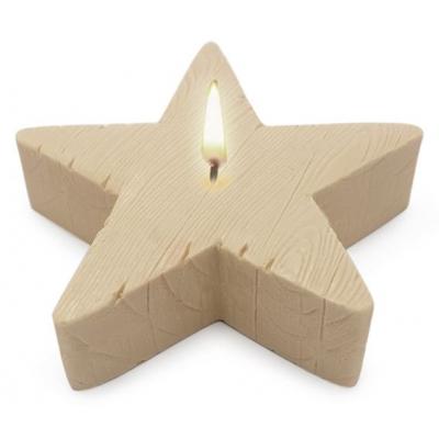 Molde para velas centro de mesa, Estrela textura Madeira.