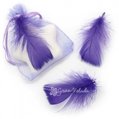 Penas Decorativas Marabú, cor Violeta.