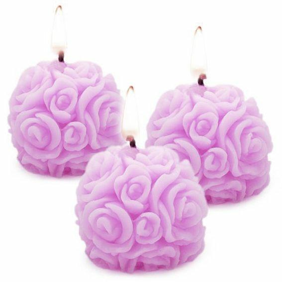 Molde velas 3 bolas de rosas mini