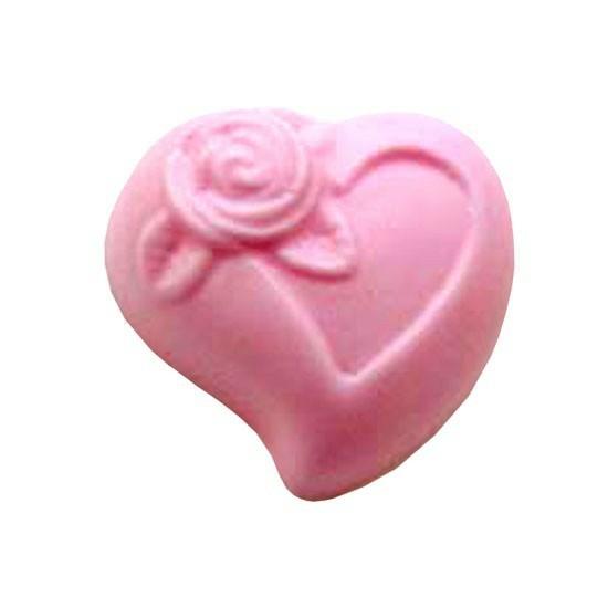 Molde para fazer sabonete Coração com Florzinha
