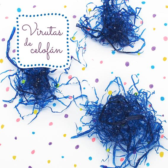 Virutas de celofan azul