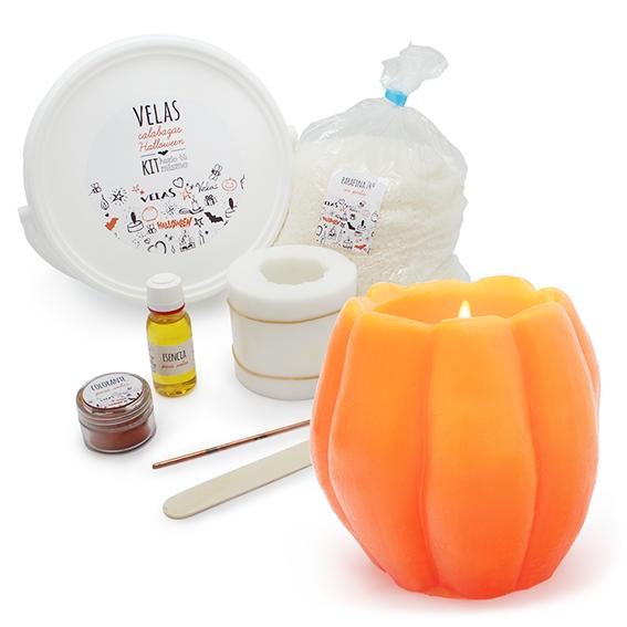 Kit velas de Halloween con forma de calabaza