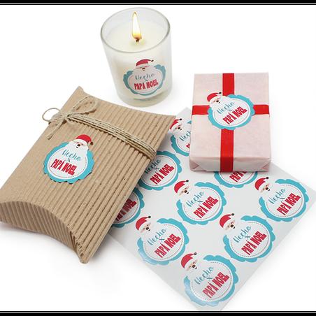 Pegatinas hecho por Papá Noel para packaging