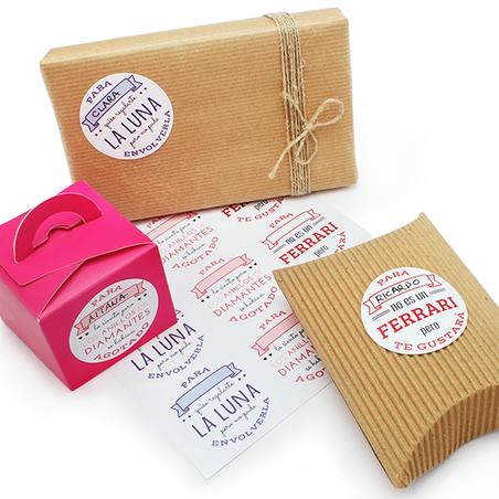 Pegatinas con frases divertidas para packaging