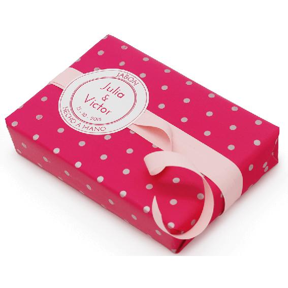 Papel de regalo fucsia con topitos plateados